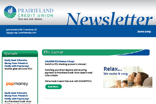 Example newsletter of Prairieland Credit Union