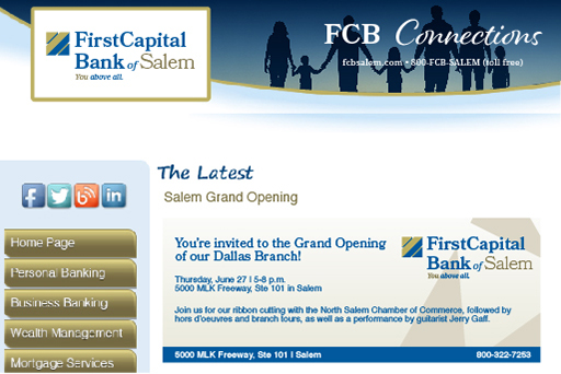 Example newsletter of First Capital Bank