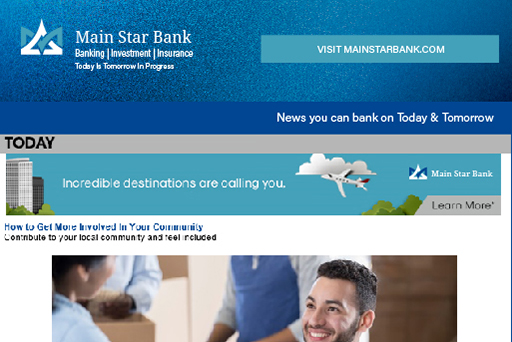 Example newsletter of Main Star Bank