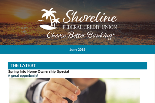 Example newsletter of Shoreline Federal Credit Union