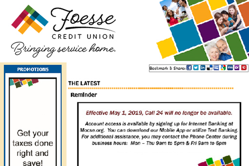 Example newsletter of Foesse Credit Union